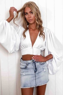 Sexy White Deep-V Crop Top with Puff Sleeves