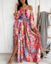 Vestido largo elegante con hombros descubiertos y mangas florales