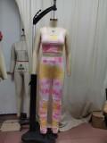 Conjunto de pantalón corto apilado y top con efecto tie dye de verano