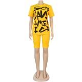 Conjunto de pantalones cortos de dos piezas con estampado casual de verano