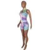 Conjunto de shorts y top corto con efecto tie dye Summer Fitness