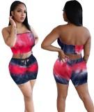 Conjunto de top y pantalones cortos sin tirantes sin tirantes con efecto tie dye