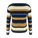 Suéteres regulares de rayas coloridas de otoño
