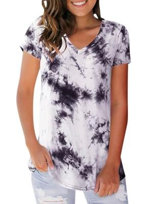 Camicia regolare scollo a V colorazione estiva