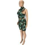 Summer Camou Crop Top y Shorts de tirantes