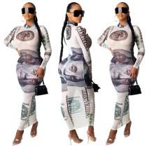 Abito lungo a manica lunga con stampa dollaro sexy
