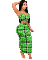 Summer Sexy Plaid Crop Top and Pencil Skirt Set