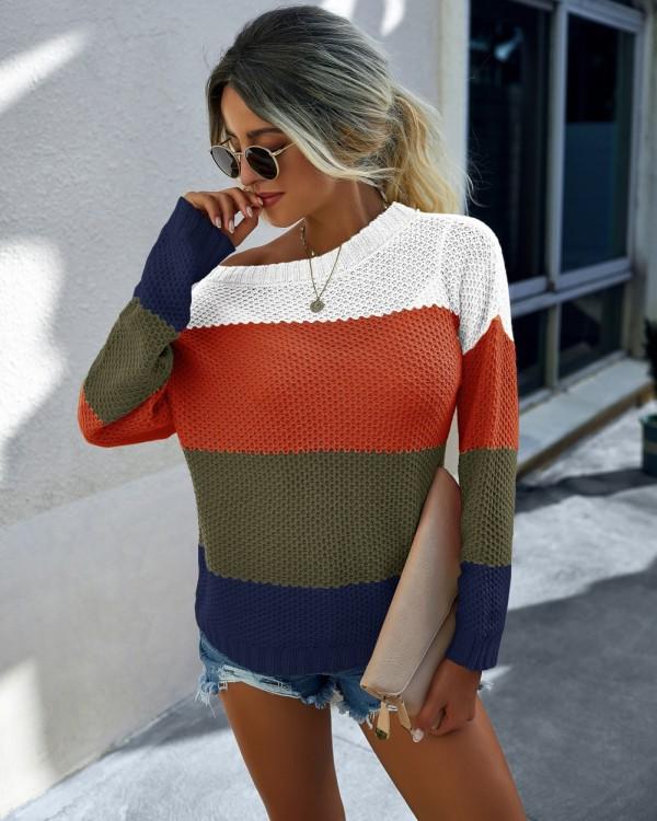 Caída Contraste Cuello Redondo Regular Suéteres