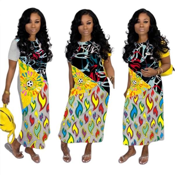 Vestido casual largo africano colorido de verano