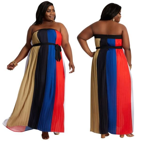 Vestido de noche sin tirantes colorido africano de talla grande