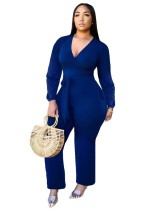 African Plain Long Sleeve Wrapped Jumpsuit
