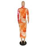 Vestido midi floral de manga larga africana