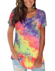 Summer Tie Dye Reguläres Hemd mit V-Ausschnitt