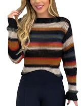 Camisolas regulares listradas coloridas do outono