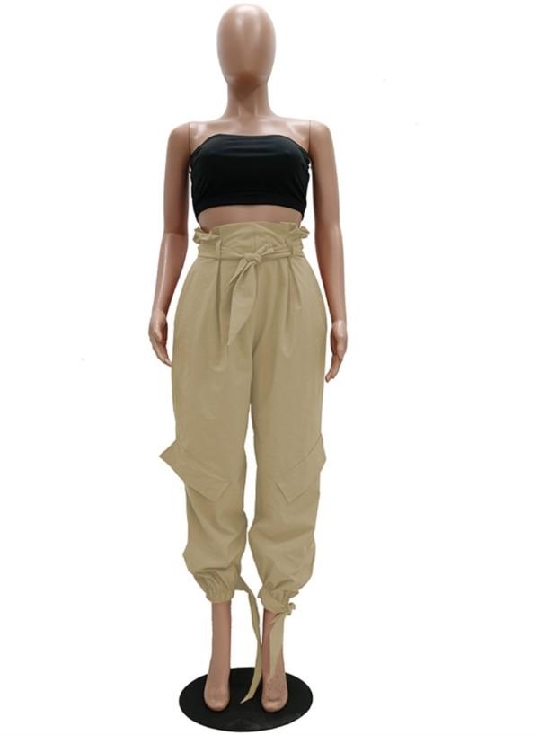 Pantalones de chándal de cintura alta lisos ocasionales