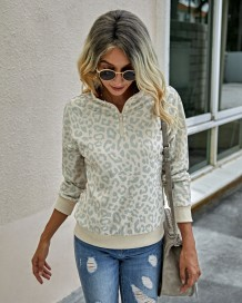 Falls Zipper Up High Waist Leopard Sweat Shirt