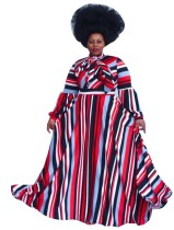 Plus Size Colorful Striped Long Sleeve Maxi Dress