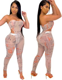 Print Sexy Two Piece Club Jumpsuit