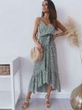 Vestido largo de verano con correas de flores elegantes