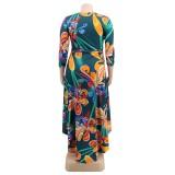 Plus Size Falls Floral Long Party Dress