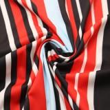 Vestido largo de manga larga a rayas de colores de talla grande