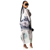 Vestido largo de manga larga con estampado de dólar sexy