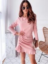 Vestido rosa sirena manga larga otoño