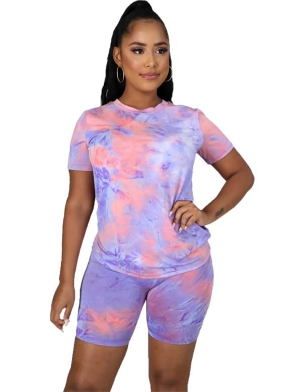 Conjunto de shorts de dos piezas Summer Dye Tie