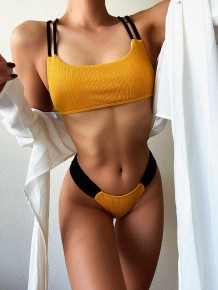 Sexy Two Piece Contrast Simple Swimwear