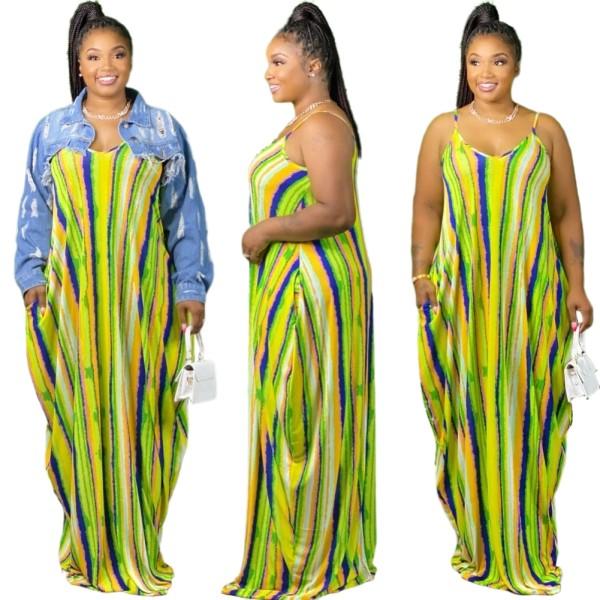 Vestido largo con correa de rayas coloridas africanas de verano