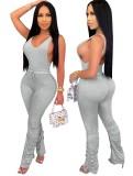 Conjunto sexy de dos piezas de pantalones apilados lisos