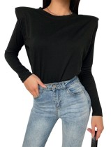 Autumn Black Long Sleeve Plain Shirt
