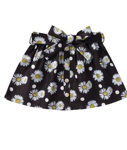 Kinder Mädchen Sommer Blumen Schwarz Minirock
