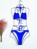 Traje de baño sexy de dos piezas de cintura alta azul