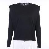 Camisa de manga larga negra lisa de otoño
