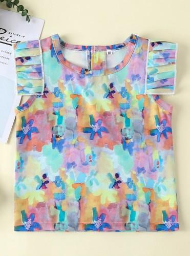 Kinder Mädchen Sommer Tie Dye Shirt