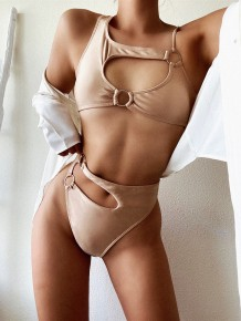 Sexy Two Piece High Waist Cut Out Nude Swimwear