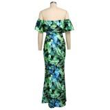 Vestido largo de sirena floral con hombros descubiertos de verano
