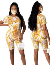 Summer Chains Print Two Piece Biker Shorts Set