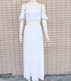 Conjunto de falda corta y top sin tirantes blancos de verano