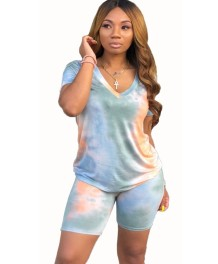 Summer Casual Tie Dye V-Neck Shirt and Biker Shorts Set