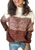 Otoño O-cuello contraste suéteres sueltos regulares
