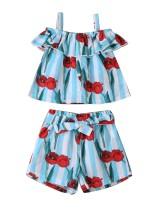 Conjunto de pantalones cortos con estampado floral de verano para niñas