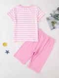 Kids Girl Summer Print Shorts de dos piezas Ropa de dormir