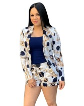 Autumn Chains Print 2PC Shorts and Blazer Suit