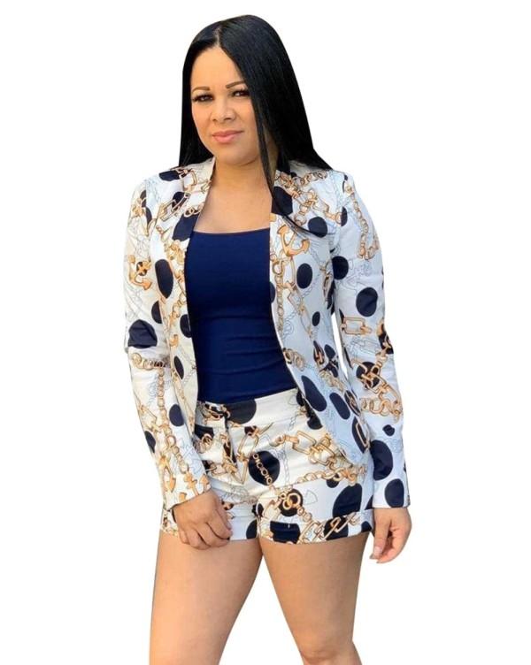 Cadenas de otoño Imprimir 2PC Shorts y Blazer Suit