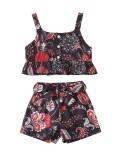Conjunto de pantalones cortos con volantes estampados de verano para niñas