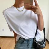 Camisa blanca de cuello redondo blanca de verano