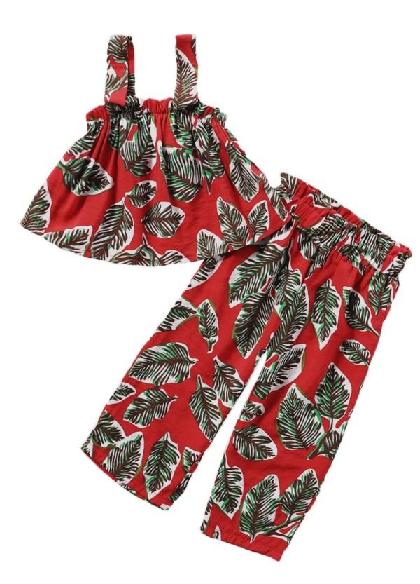Conjunto de pantalones de dos piezas con estampado de verano para niña, rojo