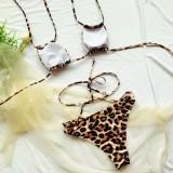 Traje de baño de dos piezas de leopardo de cintura alta sexy